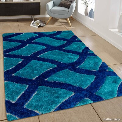 Hand-Tufted Blue Area Rug Rug Size: 411 x 611