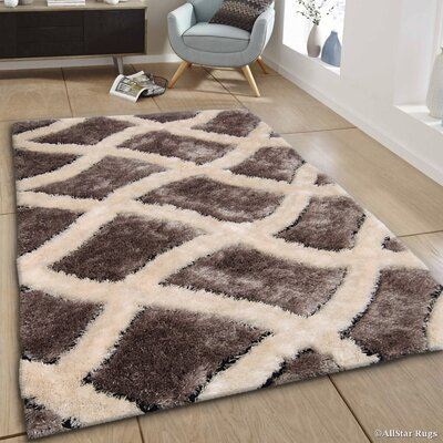 Hand-Tufted Brown/Ivory Area Rug Rug Size: 411 x 611