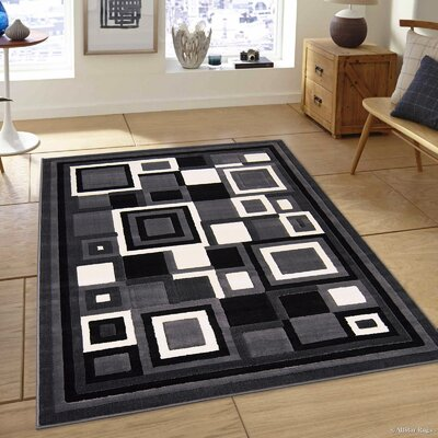 Hand-Woven Gray/Black Area Rug Rug Size: 39 x 51