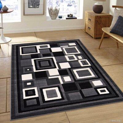 Hand-Woven Gray/Black Area Rug Rug Size: 39 x 51