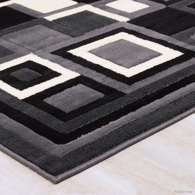 Hand-Woven Gray/Black Area Rug Rug Size: 710 x 102