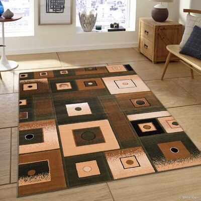 Hand-Tufted Green/Brown Area Rug Rug Size: 52 x 72