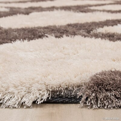 Hand-Tufted Ivory/Brown Area Rug Rug Size: 711 x 105