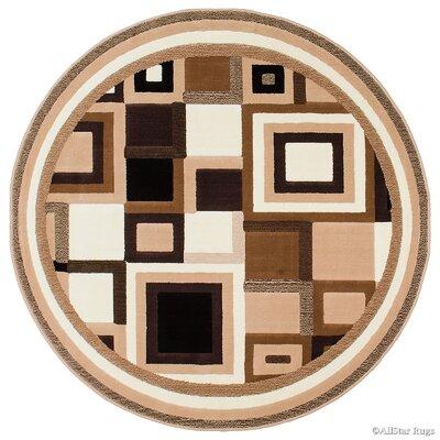 Black/Brown Area Rug Rug Size: Round 5