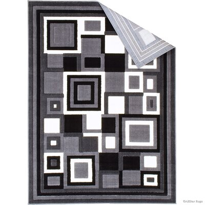 Hand-Woven Gray/Black Area Rug Rug Size: 52 x 72