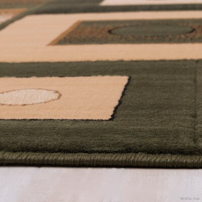 Hand-Tufted Green/Brown Area Rug Rug Size: 710 x 102