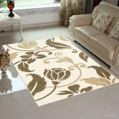 Hand-Woven Cream Area Rug Rug Size: 79 x 105