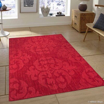 Hand-Woven Red Area Rug Rug Size: 4'11