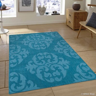 Hand-Woven Blue Area Rug Rug Size: 4'11