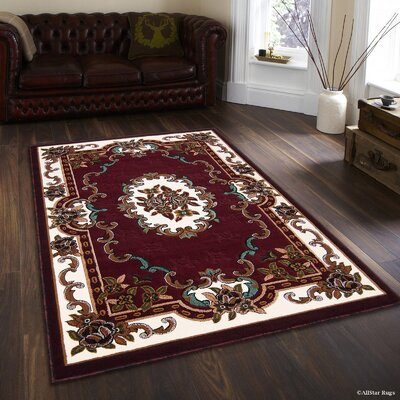 Hand-Woven Burgundy Area Rug Rug Size: 52 x 72