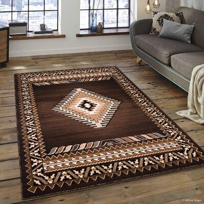 Hand-Woven Chocolate Area Rug Rug Size: 52 x 72