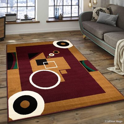 Hand-Woven Burgundy/Brown Area Rug Rug Size: 52 x 71