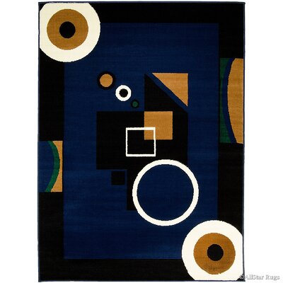 Hand-Woven Navy/Black Area Rug Rug Size: 52 x 71