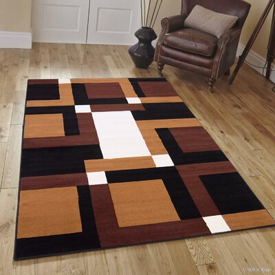 Hand-Woven Black/Brown Area Rug Rug Size: 52 x 71