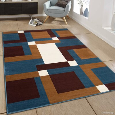 Hand-Woven Blue/Brown Area Rug Rug Size: 52 x 71