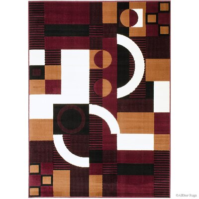 Hand-Woven Burgundy Area Rug Rug Size: 52 x 71