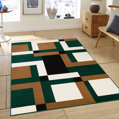 Hand-Woven Green/Brown Area Rug Rug Size: 52 x 71