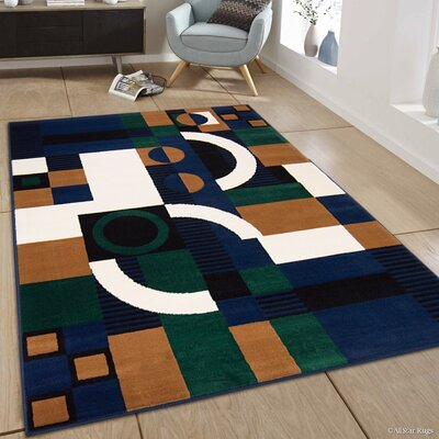 Hand-Woven Navy/Green Area Rug Rug Size: 52 x 71