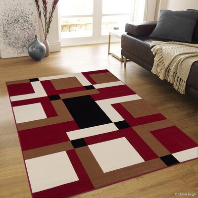Hand-Woven Red/Brown Area Rug Rug Size: 77 x 106