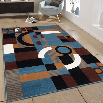 Hand-Woven Blue/Brown Area Rug Rug Size: 77 x 106