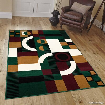 Hand-Woven Green Area Rug