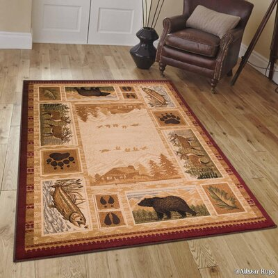 African Contours Brown Area Rug Rug Size: 77 x 106
