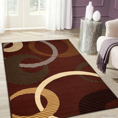 Keith High-Quality Ultra-Soft Circle Link Brown Area Rug Rug Size: 52 x 71