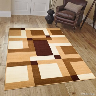 Brown/Beige Area Rug Rug Size: 77 x 106