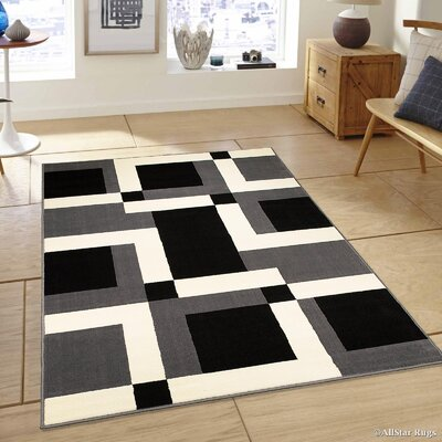 Gray/Black Area Rug Rug Size: 77 x 106