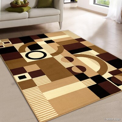 Brown/Beige Area Rug Rug Size: 52 x 71