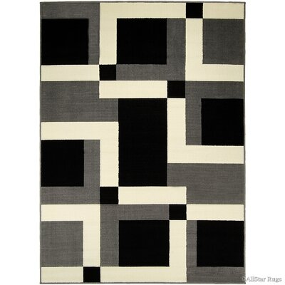 Gray/Black Area Rug Rug Size: 52 x 71