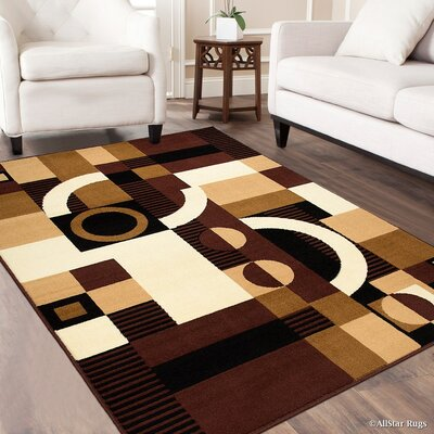Burris Geometric Brown Area Rug Rug Size: 52 x 71