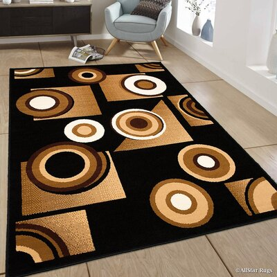 Black/Brown Area Rug Rug Size: 52 x 71