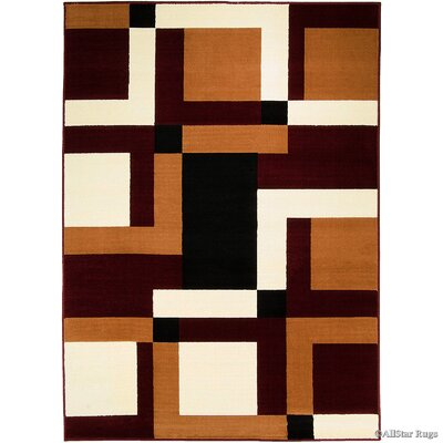 Hand-Woven Burgundy/Brown Area Rug Rug Size: 77 x 106