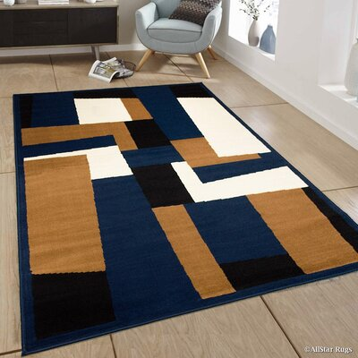 Hand-Woven Navy Area Rug Rug Size: 52 x 71