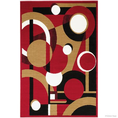 Hand-Woven Red Area Rug Rug Size: 52 x 71