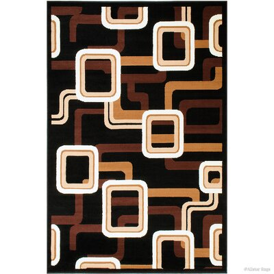 Hand-Woven Black Area Rug Rug Size: 52 x 71
