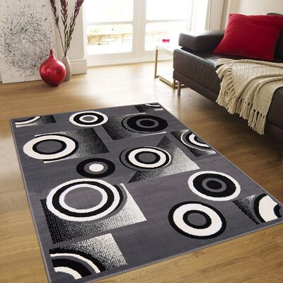 Hand-Tufted Gray Area Rug Rug Size: 52 x 71