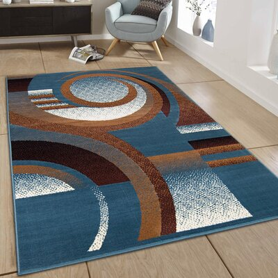 Hand-Woven Light Blue Area Rug Rug Size: 7'7