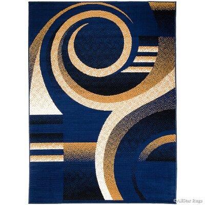 Hand-Woven Navy Area Rug Rug Size: 77 x 106