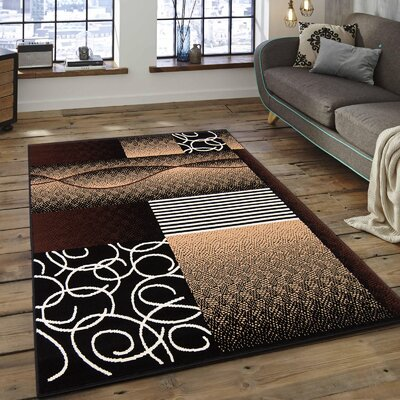 Hand-Woven Black Area Rug Rug Size: 5'2