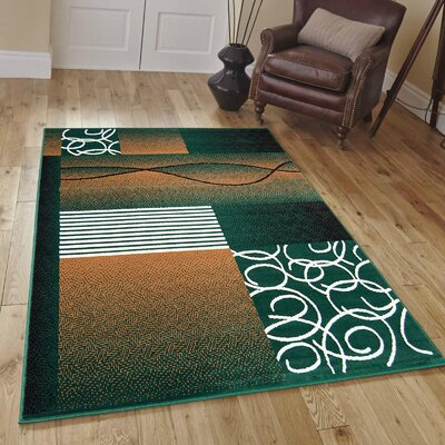 Hand-Woven Green Area Rug Rug Size: 77 x 106