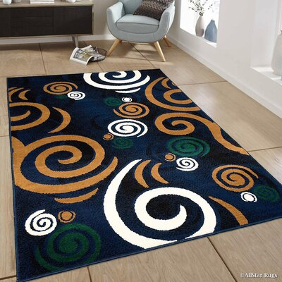 Hand-Woven Navy Area Rug Rug Size: 77 x 106