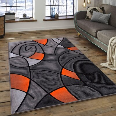 Orange/Gray Area Rug Rug Size: 50 x 611