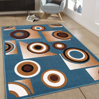 Hand-Woven Blue Area Rug Rug Size: 77 x 106