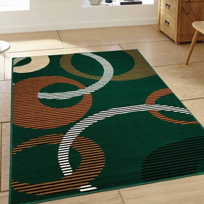 Hand-Woven Green Area Rug Rug Size: 52 x 71