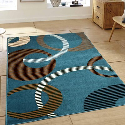 Hand-Woven Light Blue Area Rug Rug Size: 52 x 71