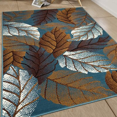 Hand-Woven Light Blue Area Rug Rug Size: 77 x 106