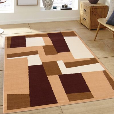 Hand-Woven Brown/Beige Area Rug Rug Size: 52 x 71