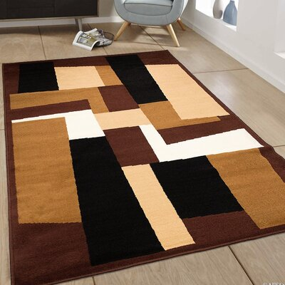 Hand-Woven Dark Brown Area Rug Rug Size: 77 x 106